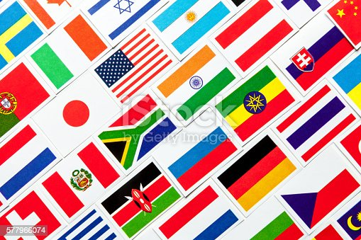 istock Background of different colorful national flags of the world. Collage 577966074