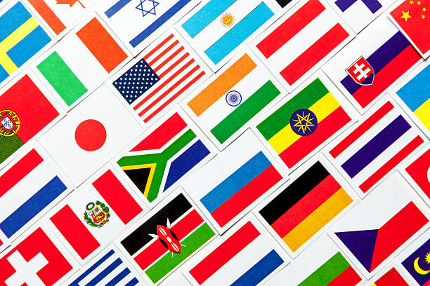 Background of different colorful national flags of the world. Collage Background of different colorful national flags of the world. Diagonal collage national flag stock pictures, royalty-free photos & images