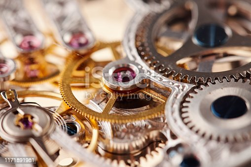 istock Background of disassembled metal watch parts 1171891981