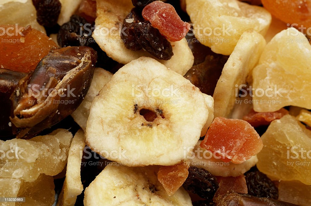 Background of dried fruit pieces, health food snack stock photo