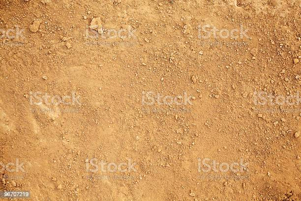 Photograph of tan colored dirt. Small clumps of dirt are sprinkled randomly over a layer of dry dirt and sand.