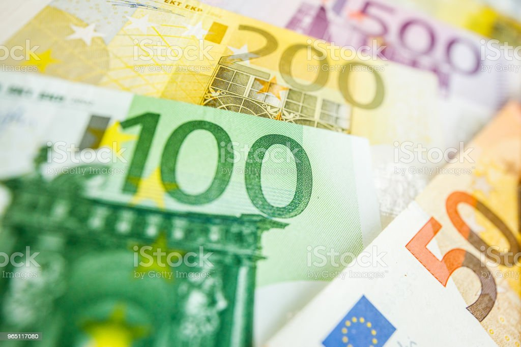 Background of euro bills. Shallow focus. zbiór zdjęć royalty-free