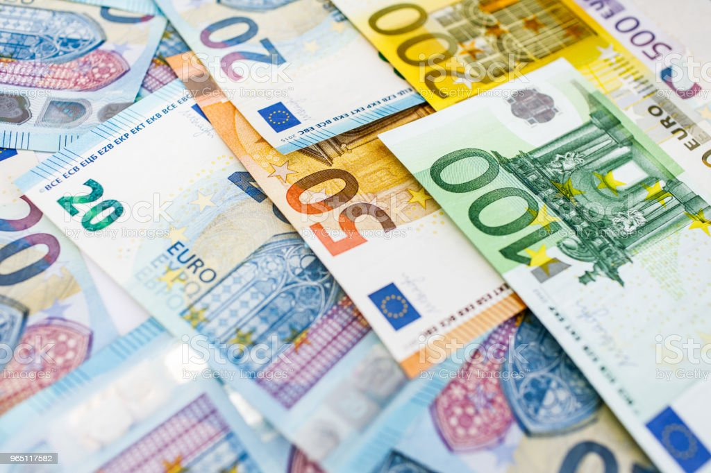 Background of euro bills. Shallow focus. zbiór zdjęć royalty-free