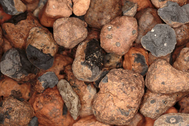 Background of expanded clay pebbles close-up stock photo