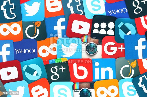 istock Background of famous social media icons 506177624