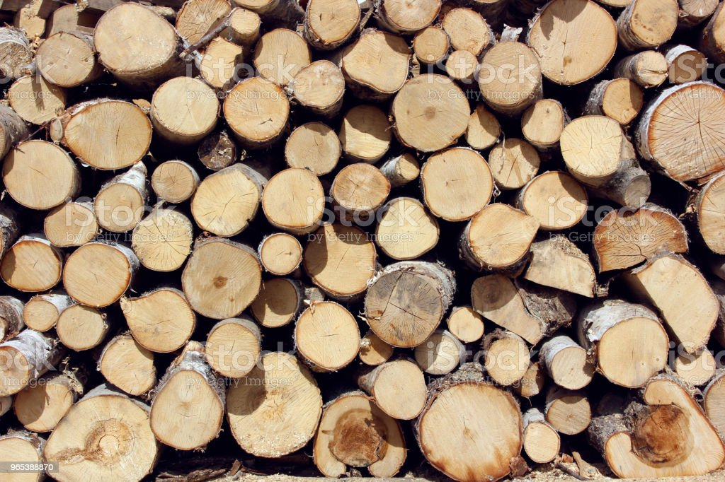 Background of firewood stacked in the woodpile royalty-free stock photo