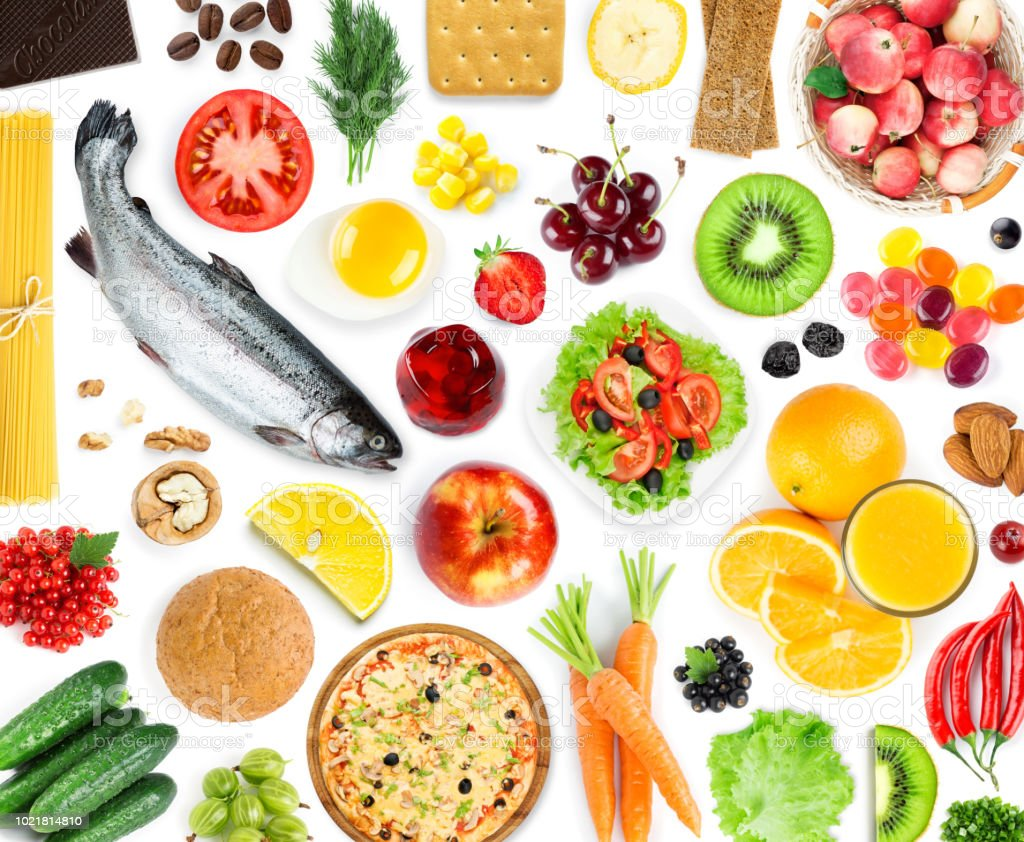 Background of food and drink. Top view. Fruits and vegetables. Fresh...