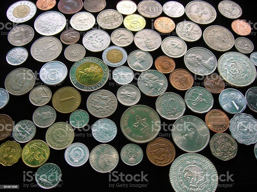 Background Of Foreign Coins royalty-free stock photo