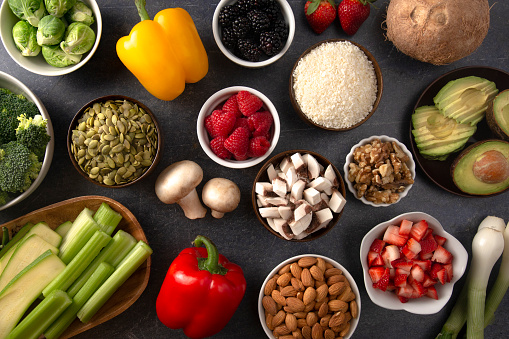 istock A Background of Fresh Fruits and Vegetables and Non Animal Protiens a Perfect Low Carb or Vegan Combination 1087991936