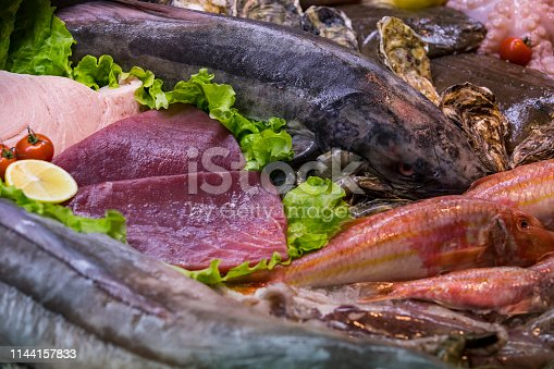 Background of fresh seafood fish clams crabs