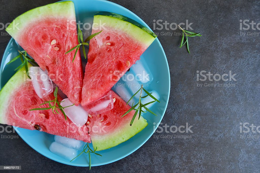 background of fresh watermelon slices with ice royalty-free stock photo