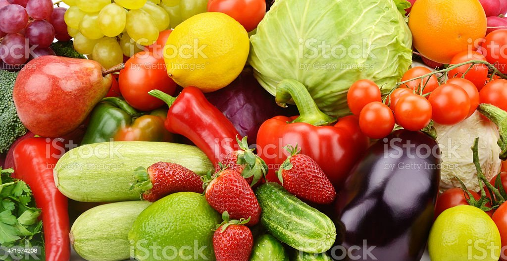 background of fruits and vegetables stock photo