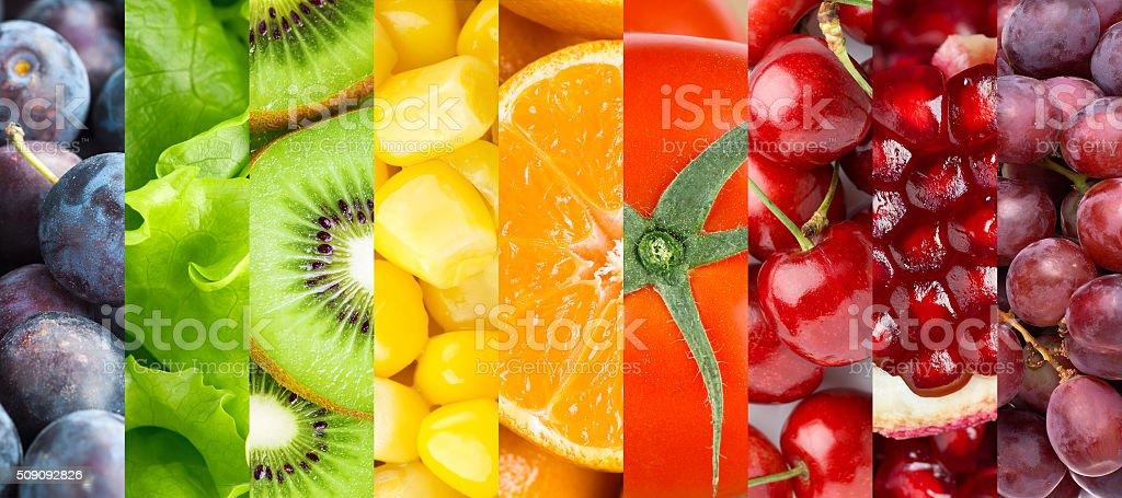 Hintergrund mit Früchten, Beeren und Gemüse – Foto