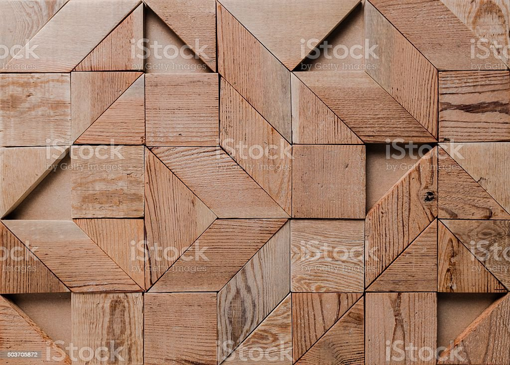 background of geometric wood pieces. stock photo