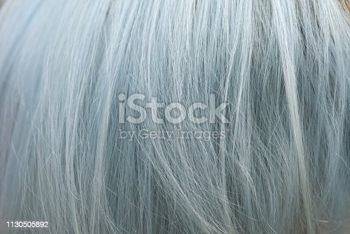 istock Background of grey hair dyed color with highlight bleaching technique but makes hair damaged and coarse 1130505892