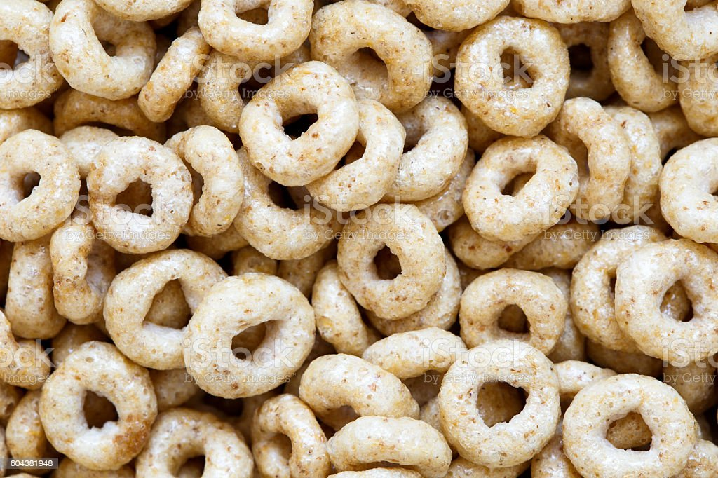 Background of honey cheerios from above. stock photo