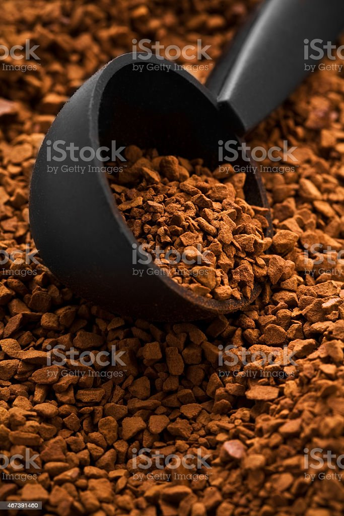 background of instant coffe with spoon stock photo