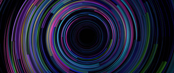 Background of light lines of blue, green, yellow and purple color rotating in circles on a black background forming a tunnel. 3D Illustration Background of light lines of blue, green, yellow and purple color rotating rapidly in circles on a black background forming a tunnel. 3D Illustration alejomiranda stock pictures, royalty-free photos & images