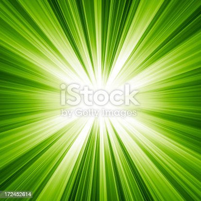 istock Background of light radiating from the center in green 172452614