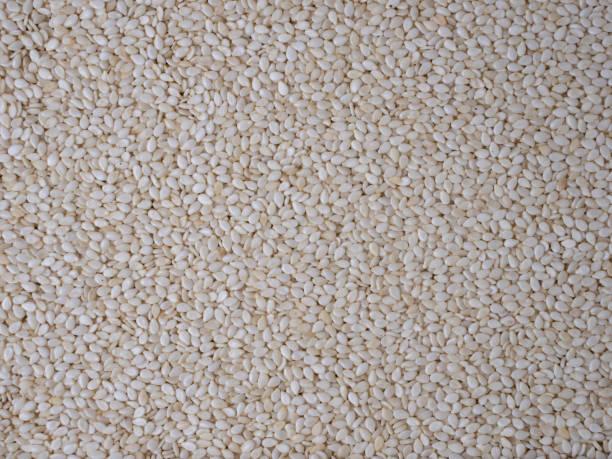 Hintergrund von vielen weißen Sesamsamen. – Foto