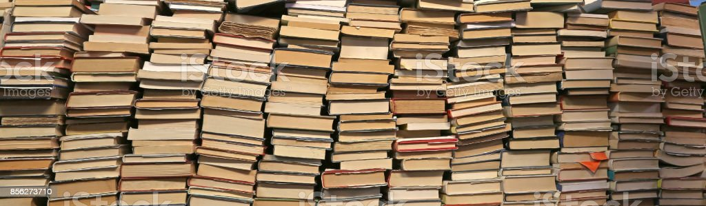 Background of many books of many sizes  for sale stock photo