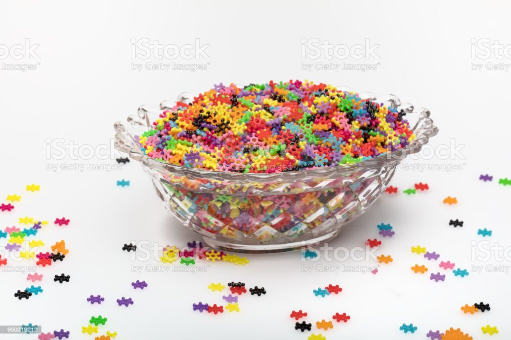 background of many colored beads to make necklaces stock photo