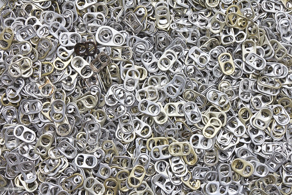 Background of many ring pull can opener. stock photo