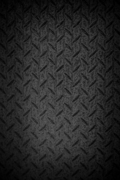 background of metal diamond plate in black color - diamond plate background stock photos and pictures