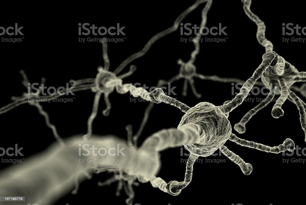 Background of microscopic neurons isolated on black stock photo