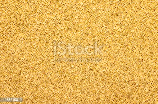 Yellow grain millet groats as a texture or food background closeup