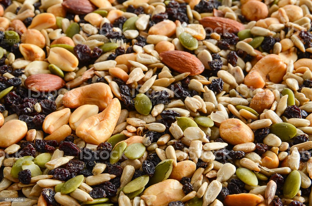 Background of mixed nuts and seeds stock photo