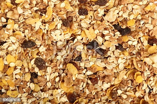 istock Background of muesli with dried fruits. Directly Above. 636597618