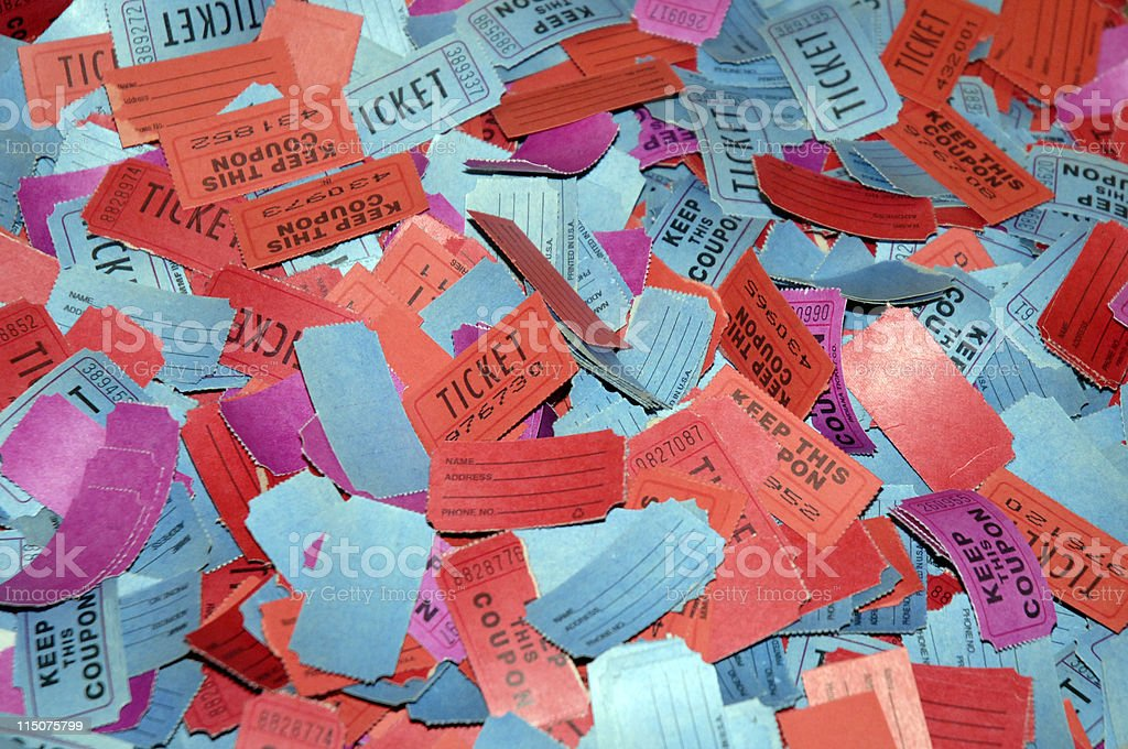 Background of multicolored raffle tickets stock photo