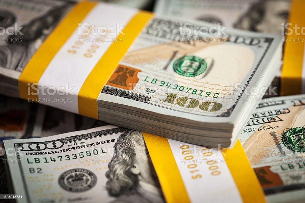 Background New 100 Us Dollars Banknotes Bills stock photo