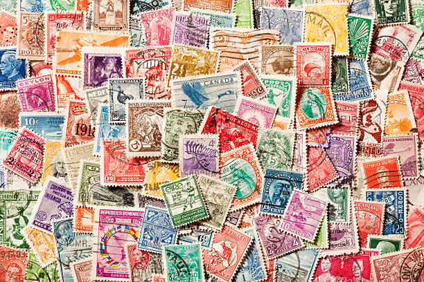 Background of old, canceled Postage Stamps. XXXL stock photo