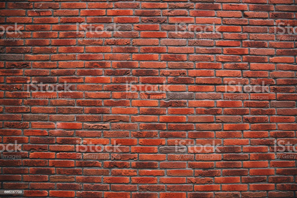 Background of old vintage red brick wall. stock photo