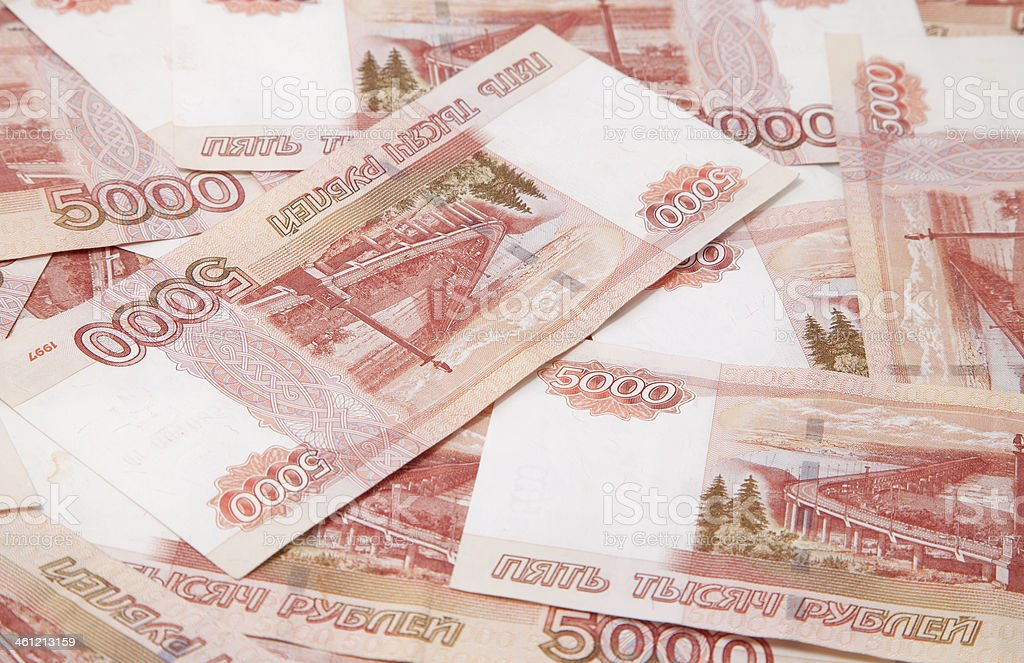 Background of one and five thousand russian roubles bills stock photo