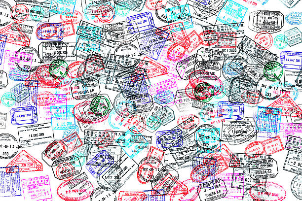 Background of passport stamps on white Background of passport stamps on white passport stamp stock pictures, royalty-free photos & images