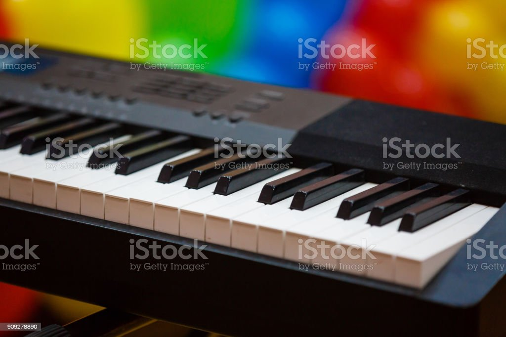 Background of piano keyboard close up electronic piano keys stock photo