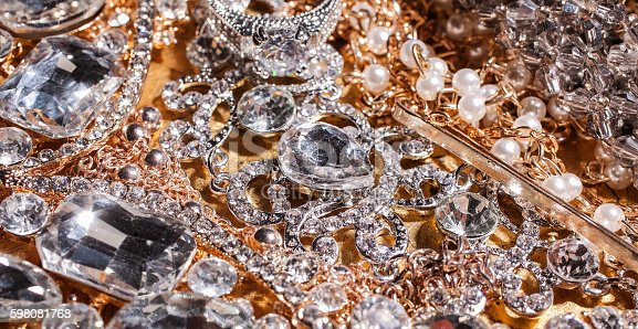 Background of luxury beautiful golden and silver luxury jewelry.