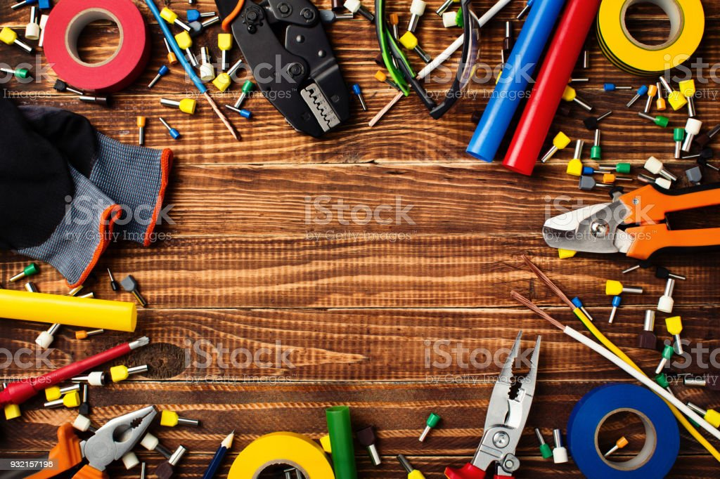 Background Of Professional Electrician Tools Insulating Tape Lugs Removers Pliers Cutters Goggles Cables And Others With Space For Text Stock Photo Download Image Now Istock