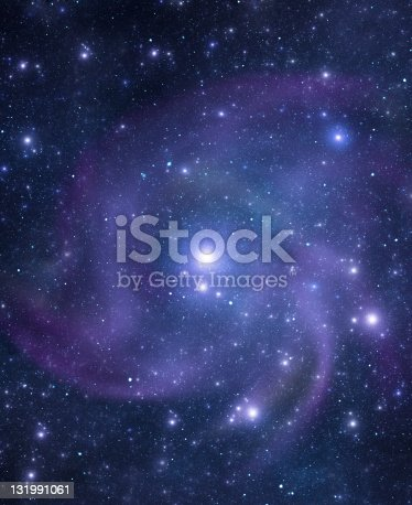 A beautiful bright galaxy with billions of stars and a black hole at its centre in deep space. Illustration.