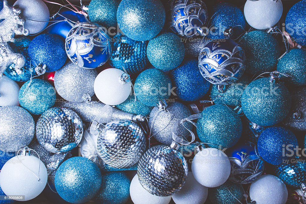 background of red blue and white christmas decorations picture id618055806