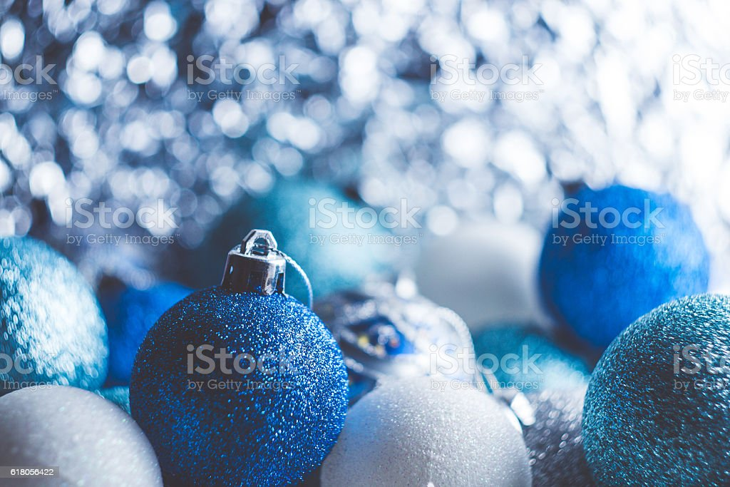 Background of red blue and white Christmas decorations stock photo