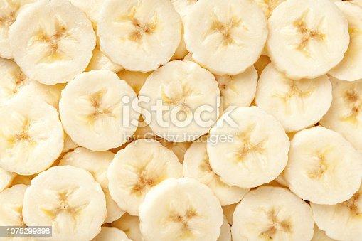 istock Background of ripe sliced banana slices, closeup. 1075299898