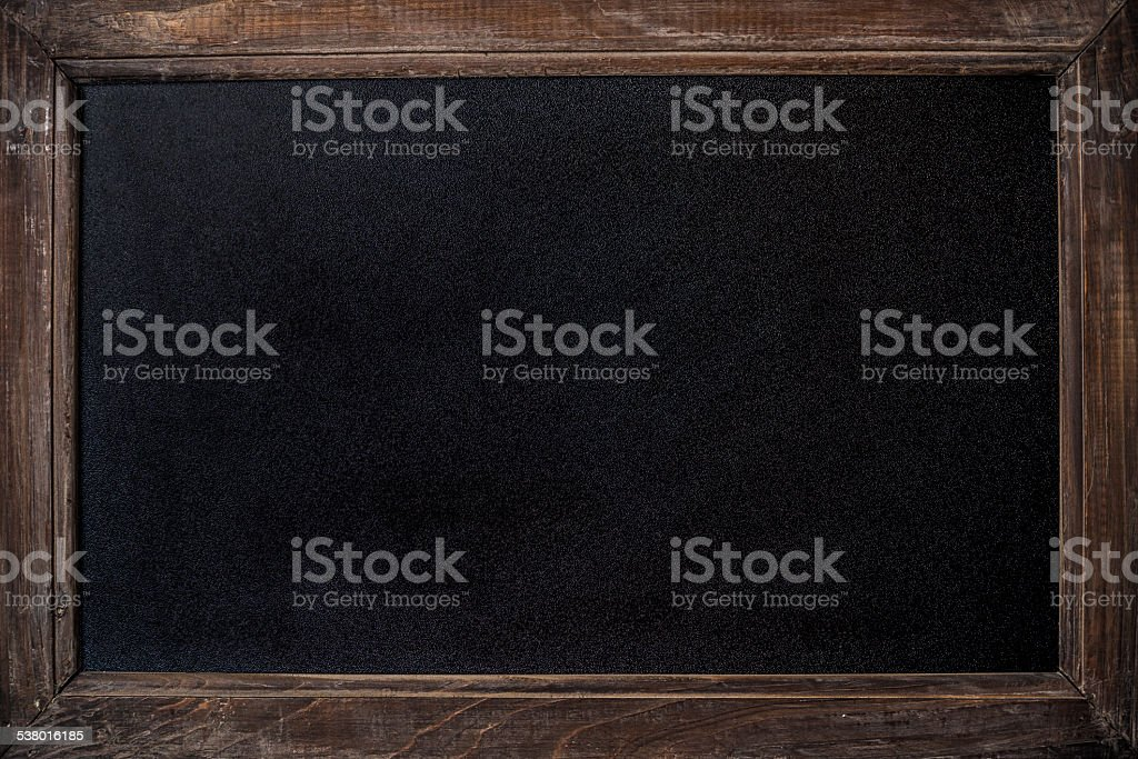 Old fashioned rustic timber framed chalk blackboard background with...