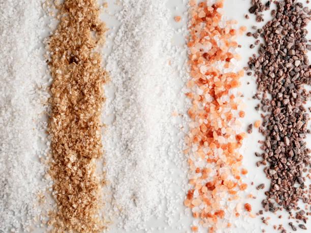 background of salt,salt,Collection of different types salt,Spicy salt stock photo
