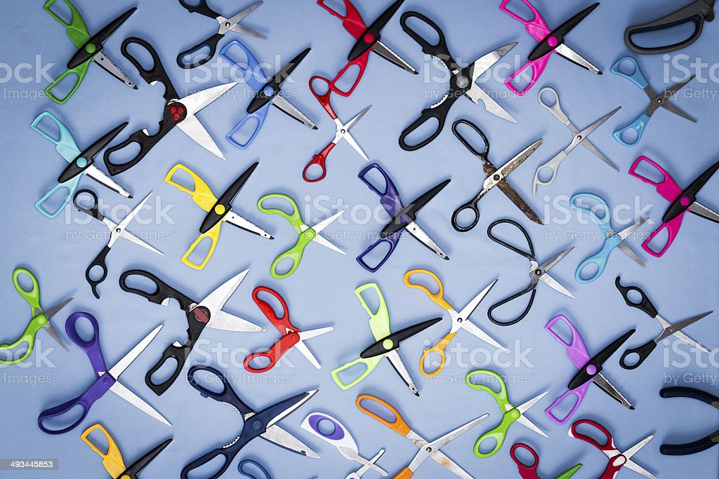 Background of scissors with open blades stock photo