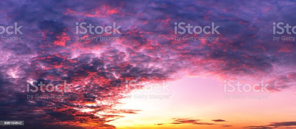 Background of sky twilight and colorful clouds panorama scene stock photo