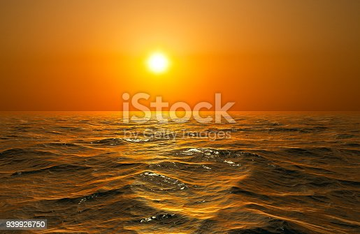 Background of sky with the setting sun reflected in water or ocean